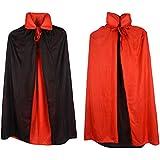 "Custome Black Red Reversible Dress Goth Devil Pirate Vampire Demon 35"" Cloak For Halloween Party Christmas Children Kids"