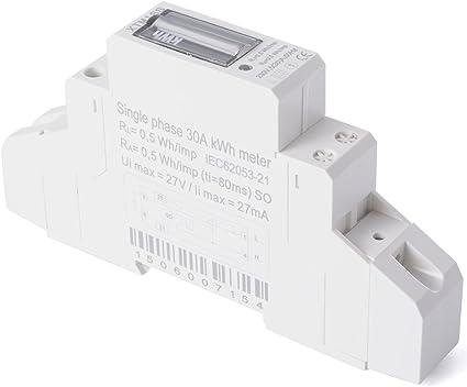 XCSOURCE® Medidor Energía CA 230V 5(30) A (SO) Contador Guía KWH DIN BI041