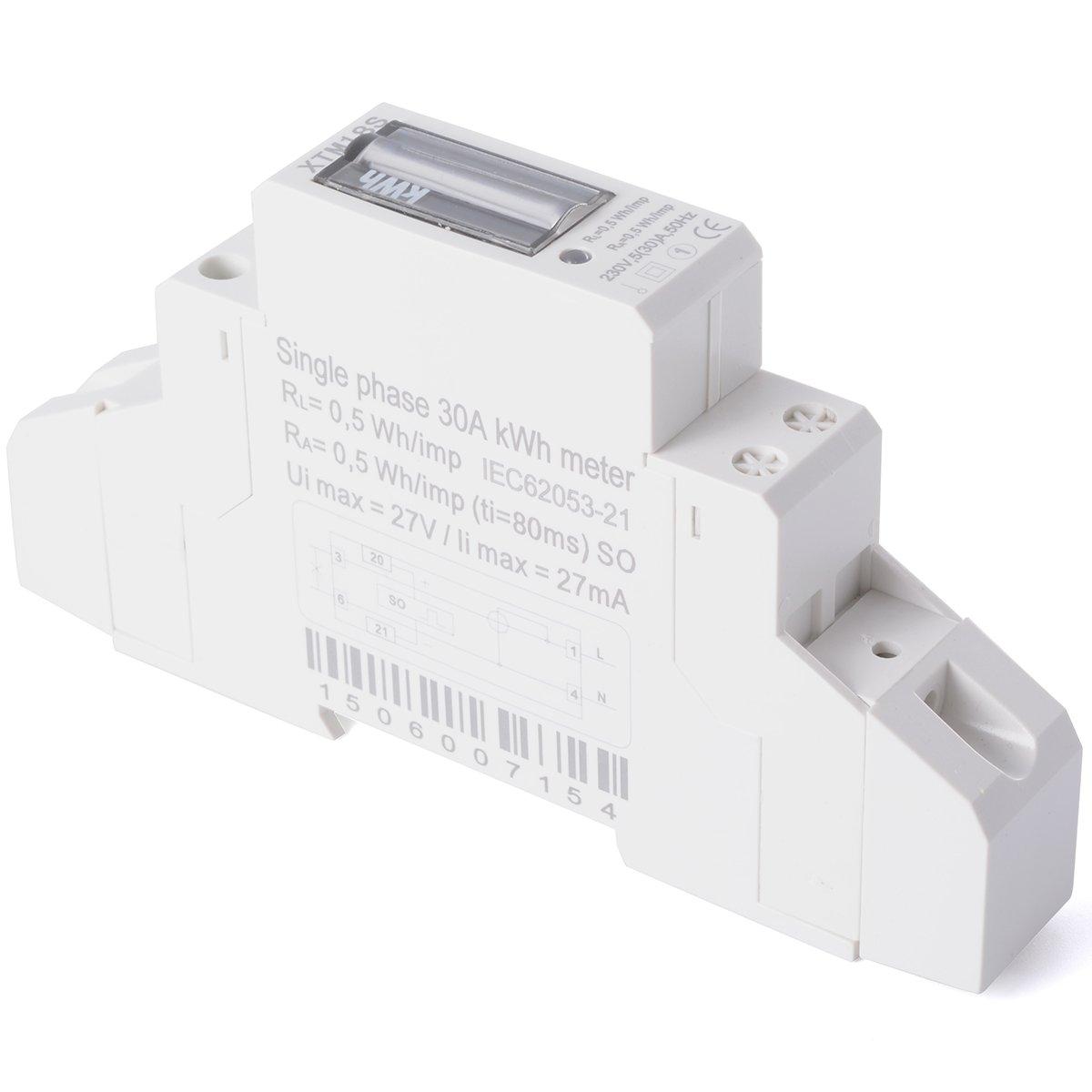 XCSOURCE/® Medidor Energ/ía KWH Kilovatio Hora LCD CA 50Hz Fase Simple Riel DIN 230V BI042