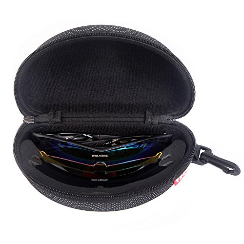 WOLFBIKE Outdoor Sports Cycling Sunglasses with 3 Set Interchangeable Lenses, Black Frame