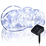 lychee Christmas Rope Lights 16.5ft 50LED Waterproof Solar Powered Rope String w/Light Sensor Outdoor Rope Lights Ideal for Home Christmas, Party, Wedding (White)