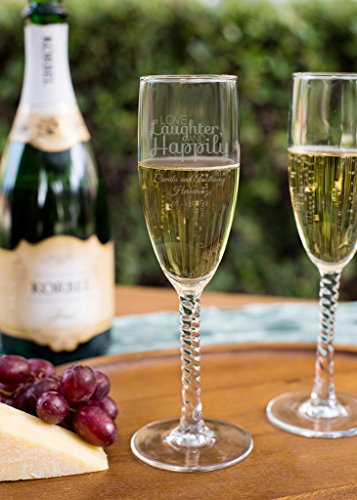 Love Laughter and Happily Ever After 5.75 Ounce Twisted Stem Champagne Flutes, Case of 12, Engraved Wedding Favor, Wedding Toasting Glass, Anniversary or Bachelorette Gift (Flute Stem Twisted)