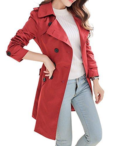 Red Overcoat (NANJUN Women's Double Breasted Trench Coat Chelsea Tailoring Overcoat (burgundy 4))