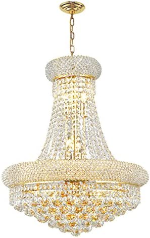 Worldwide Lighting Empire Collection 12 Light Gold Finish Crystal Chandelier 20 D x 26 H Round Medium