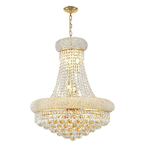 Round Twelve Light Chandelier - Worldwide Lighting Empire Collection 12 Light Gold Finish Crystal Chandelier 20