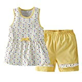 Beide Baby Girls Clothes Set Cotton Tank Top + Short Summer Outfit(Yellow,6-9m