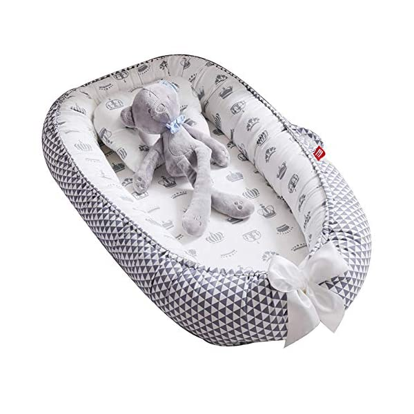Baby Lounger Nest Bassinet for Bed, Portable Baby Co-Sleeping Cribs & Cradles for Bedroom and Travel, 100% Soft Cotton Baby Bed (Triangle Crown)