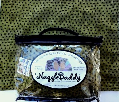 'NUGGLEBUDDY NEW! Microwaveable Moist Heat & Aomatherapy Organic Rice Pack! Beautiful Olive & Black Dotted Batik Fabric Infused with SPEARMINT EUCALYPTUS Aromatherapy. YOUR NEW BEST (Dotted Batik)