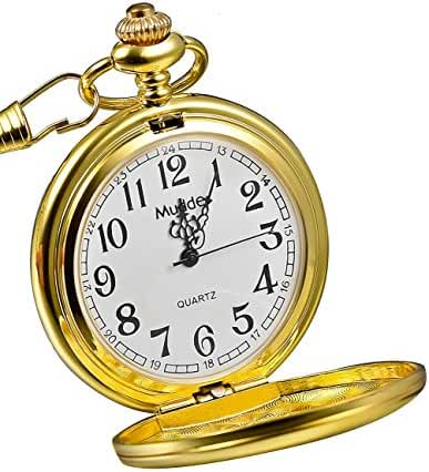 Mudder Vintage Mens Pocket Watch, Golden