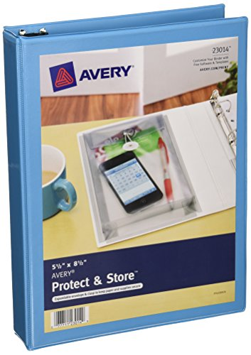 Avery Mini Protect and Store View Binders with 1 Inch EZ-Turn Ring, 5.5 x 8.5 Inches, Blue (23014)