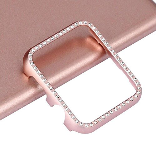 T.Face New Aluminum Bling Crystal Diamonds Case for Apple Watch 38mm 42mm Metal Alloy Frames Perfect Protection Casings (Pink)