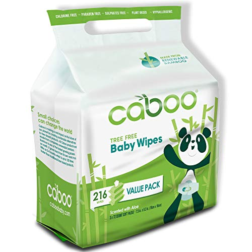 Caboo Tree-Free Bamboo Baby Wipes, Eco Friendly Hypoallergenic Baby Wipes for Sensitive Skin, 3 Resealable Peel Tab Travel Packs, 72 Wipes Per Pack, Total of 216 Wipes - Aleva Naturals