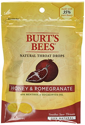 Burt's Bees Natural Throat Drops, Honey/Pomegranate, 20 Count For Sale