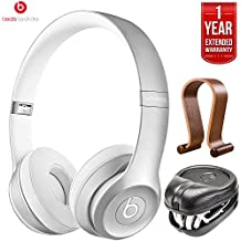Beats By Dre Solo2 Wireless On-Ear Headphones MKLE2AM/A - Silver (Certified Refurbished) + HardBody PRO Full Sized Headphone Case + Wood Headphone Stand with 1 Year Extended Warranty Pack