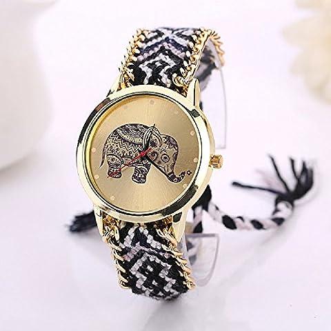 Damark Women Elephant Pattern Weaved Rope Band Bracelet Quartz Dialwatch Gift (Black+White) - Rose Quartz Rope