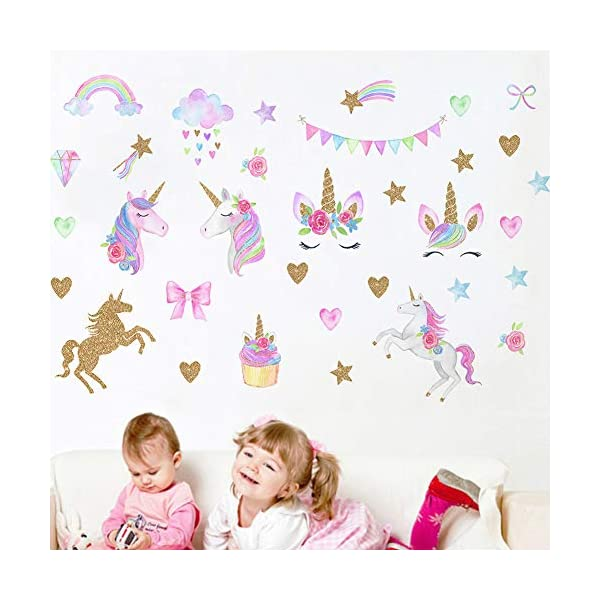 [2 PCS] Unicorn Wall Decals, Romantic Unicorn Wall Stickers Girls Bedroom, Unicorn Wall Stickers Decorations, Wall Decor with Clouds 7