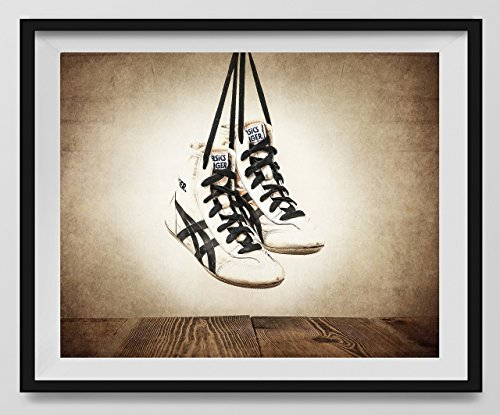 Vintage Wrestling Shoes on Vintage Background Fine Art Photography Print, Wrestling Nursery Art, Vintage Sports Nursery Art, Wrestling artwork, Wrestling Prints, Nursery decor, Kids Room Wall Art. by Saint and Sailor Studios