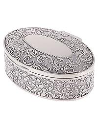 Jili Online Vintage Oval Jewelry Box Flower Sculpture Trinkets Chest Jewelry Organizer Black Velvet Interior Metallic Case