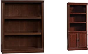 Sauder 3 Shelf Bookcase, Select Cherry Finish & Heritage Hill Library with Doors, Classic Cherry Finish