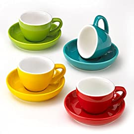 Espresso Cups and Saucers by Easy Living Goods - 3-Ounce Demitasse for Coffee, Set of 4, Assorted Colors (Vibrant) 7 BEAUTIFUL COLORS; 4 stylish colors in each set; Turquoise Blue, Poppy Red, Lemongrass Green and Sunflower Yellow; cup and saucers are color matched MICROWAVABLE AND DISHWASHER SAFE; convenient and easy care for busy lifestyles; cheerful and colorful demi cups for everyday use PREMIUM PORCELAIN; crafted with durable porcelain; 3-ounce capacity; single or double shot espresso; raised rim saucer with a round center indentation to hold your coffee cup