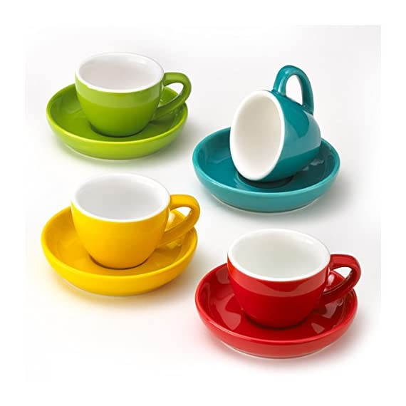 Espresso Cups and Saucers by Easy Living Goods - 3-Ounce Demitasse for Coffee, Set of 4, Assorted Colors (Vibrant) 1 BEAUTIFUL COLORS; 4 stylish colors in each set; Turquoise Blue, Poppy Red, Lemongrass Green and Sunflower Yellow; cup and saucers are color matched MICROWAVABLE AND DISHWASHER SAFE; convenient and easy care for busy lifestyles; cheerful and colorful demi cups for everyday use PREMIUM PORCELAIN; crafted with durable porcelain; 3-ounce capacity; single or double shot espresso; raised rim saucer with a round center indentation to hold your coffee cup