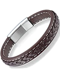 Ostan Men's Braided Leather Bracelet Bangle Fashion Magnetic Clasp