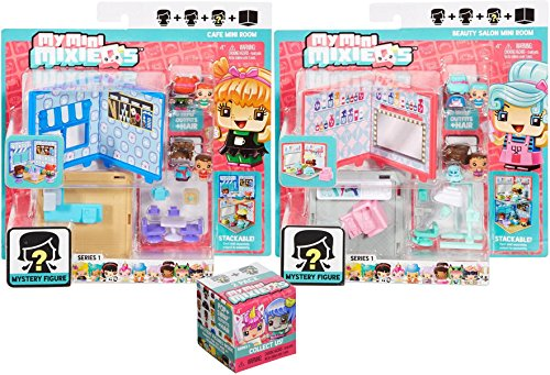 My Mini MixieQ' s Cafe-Bakery Mini Room Playset + Beauty Salon Mini Room & Bonus Series 2 Bind Box Mystery Figures