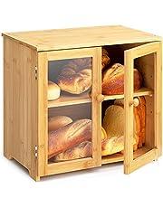 PARANTA Bamboo Bread Box, Countertop Bread Kitchen Food Storage Box