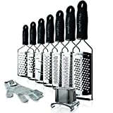 Microplane Gourmet Cheese Grater 9 Piece Set - Ribbon, Coarse, Extra Coarse, Ultra Coarse, Fine, Star, Shaver, Cut Resistant Glove, and Slider Attachment