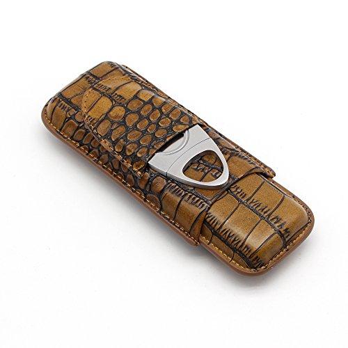 GALINER 2ct Cigar Case Lightweight Minimalist Genuine Leather Tubes Pocket Humidor - Round Brown Tube