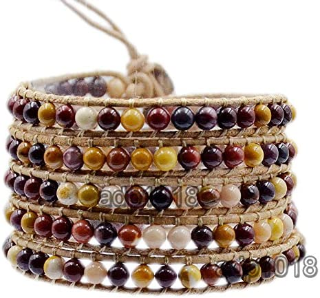 Hot Hand Made Natural Gemstones Beads Genuine Leather Wrap Bracelet 2 Wraps, Amethyst