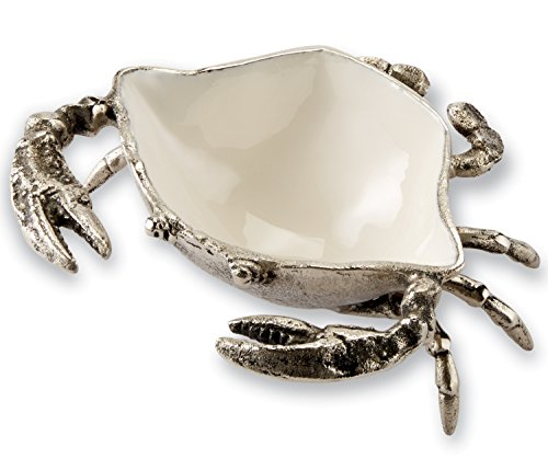 - Mud Pie Crab Shaped Dip Cup Embossed Metal and White Enamel