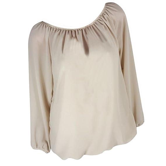 Lenfesh Camisetas de Manga Larga para Mujer Casual Blusa Cuello Redondo Color Sólido Talla Grande S-5XL Camiseta Mujer Moda Suelto: Amazon.es: Ropa y ...