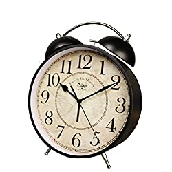 Retro Double Bell Alarm Clock Fashion Silent Desk Clock Vintage Metal Bedside Alarm Clock Study Room Bedroom Office Students Adults Children(23.5830cm)