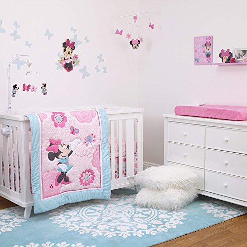 (Disney Minnie Mouse 3-Piece Nursery Crib Bedding Set, Rose Pink/Bright Pink/Aqua/White)