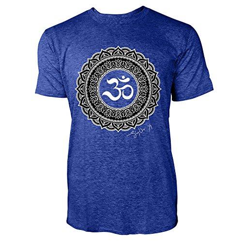 SINUS ART ® Henna Tattoo Mandala Herren T-Shirts in Vintage Blau Cooles Fun Shirt mit tollen Aufdruck
