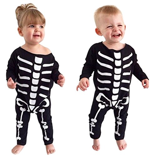 Baby Boys Girls Skull Print Halloween Costume Long Sleeve Romper Jumpsuit Outfit size 18-24 Months (Black)