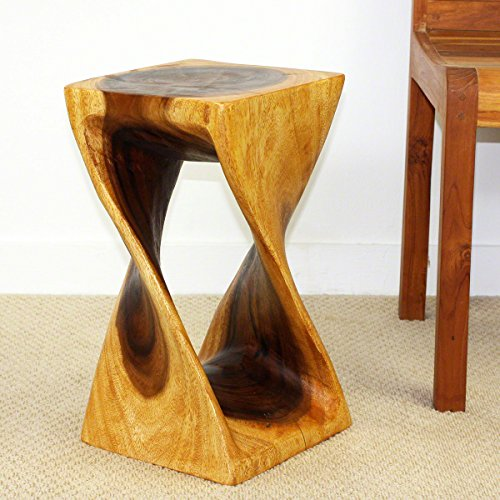 Twist Stool 10x10x18 inch Ht Sust Monkey Pod Wood in Eco Friendly Oak Oil Finish by Haussmann