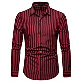 X-i^i Men's Long Sleeve, Striped Painting Business Shirt Large Size Casual Top (S, Red)