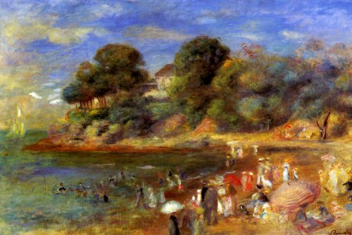 THE BEACH AT PORNIC FRANCE SUMMER 1892 FRENCH BY PIERRE AUGUSTE RENOIR PRINT REPRO