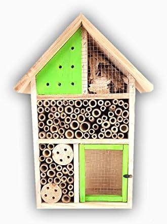 Insektenhotel für Wildbienen, Marienkäfer, Florfliegen, für Balkon, Garten, HxBxT: 37,5 x 26 x 10,5 cm, Holz,versch. Farben