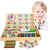 BATTOP Wooden Counting Sticks Arithmetic Box Learning Mathematics Educational Toys Counting Rods& Blackboard