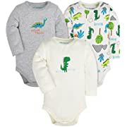 Baby 3-Pack Cotton Boys and Girls Long and Short Sleeve Bodysuits,Gray/White/Green(Dinosaurs)