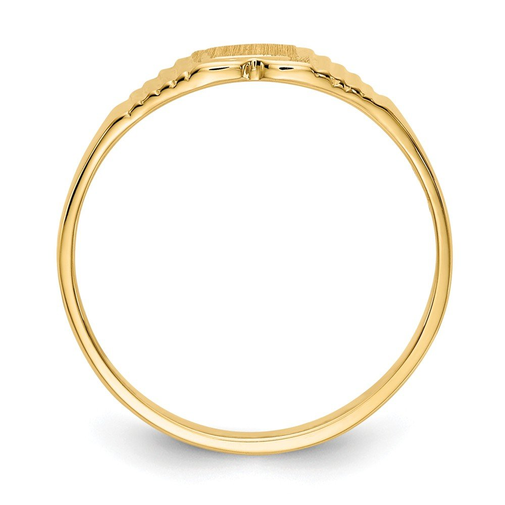 FB Jewels Solid 14K Yellow Gold Childs Polished /& Satin Ring Size 4