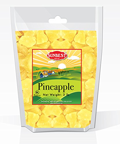 SUNBEST Dried Pineapple Chunks in Resealable Bag ... (3 Lb)