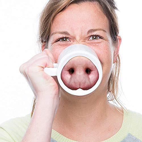auvstar Creative Taza de Agua, ceramica Taza,para cafe, te, Noticias, hogar, Oficina,Mejor Regalo para la Familia, Amigo, Maestro (Nariz de Cerdo)