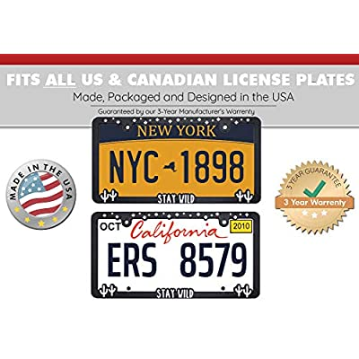 Spiffy License Plate Frame Stay Wild Accessories for US/CAN Vehicles with Vibrant Raised Lettering | Heavy Duty Polyurethane | Strong Securing Clips | Original Design | Made in The USA: Automotive