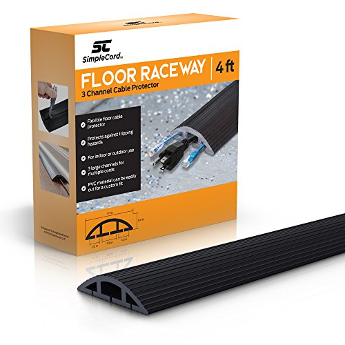Floor Cable Cover - 4 Ft Black Duct Cord Protector Covers Cables, Cords, or Wires - 3 Channel On Floor Raceway for Sidewalks or Walkways, in The Home or Office Doorways (4 ft)