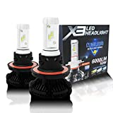 Alla Lighting Fanless H13 9008 LED Headlight Bulbs 6000lm DIY 3 Colors White Gold Ice Blue X3 Version Xtremely Super Bright High Power ZES Chips Mini H13 9008 Hi/Lo LED Conversion Kits Headlight Bulbs