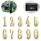 10 Pieces Self Adhesive 2 Inch Premium Brass Numbers for mailboxes,Houses and Doors (10 Pack (0-9))